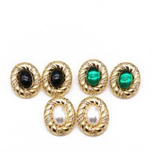 Free Shipping New Geometric Crystal Stone Green White Black Elegant Earring