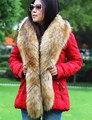 Длинные женщины меховым воротником поддельные лисий мех енота меховым воротником из искусственного меха воротник пальто декор роскошный зимний шарф многоцветный