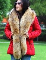 ยาวผู้หญิงขนปลอกคอสุนัขจิ้งจอกปลอมที่ทำจากขนสัตว์แรคคูนขนสัตว์ปก