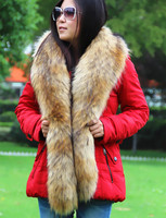 Lange vrouwen bontkraag nep vossenbont wasbeer bontkraag faux bontkraag jas decor luxe sjaal winter multi kleur