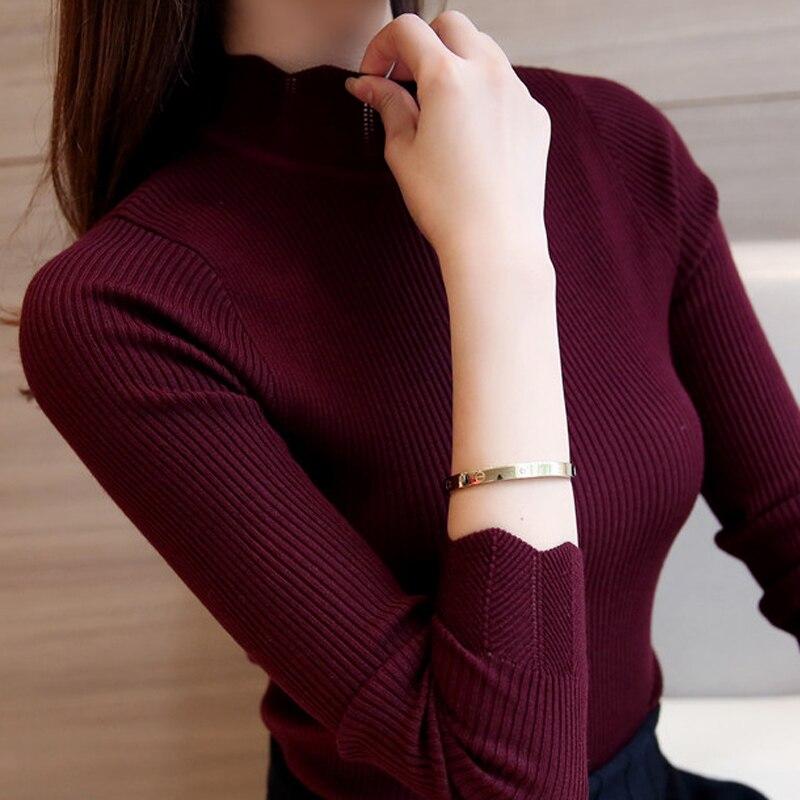2018 mujeres coreanas moda suéteres y suéteres Sueter Mujer con volantes manga cuello alto sólido Delgado Sexy elástico mujeres Tops