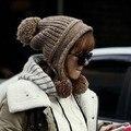 Invierno femenino del sombrero enrollar oído proteger invierno hizo punto el sombrero bola de la moda de las mujeres hizo punto el sombrero del casquillo de la muchacha otoño protector auditivo cap
