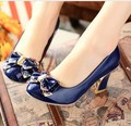 Free shipping 2017 single shoes bow thick heel round toe shoes low-top japanned leather women's pumps shoes 40 - 43