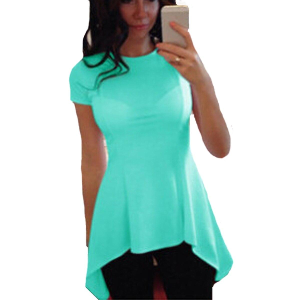 celmia новые 2017 летние сексуальные женщины блузка с коротким рукавом о шеи баски талии slim fit топы повседневные твердые рубашки плюс размер blusas