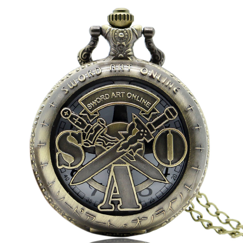 Retro Hollow Vintage Bronze Sword Art Online Quartz Pocket Watch Necklace Pendant Men Women Gift