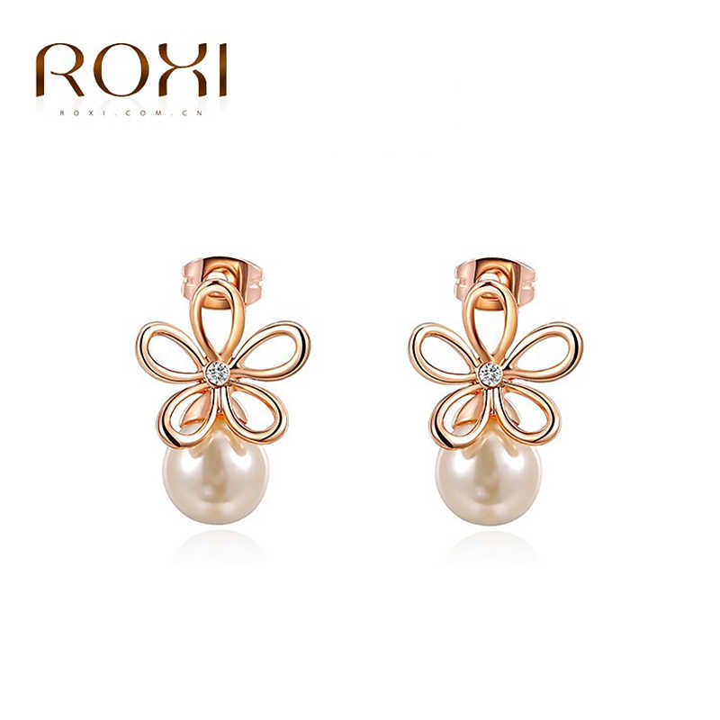 0419dbcd8 ROXI 2017 Fashion Jewelry Rose Gold Color Statement Flower Stud Earrings  For Women Engagement Wedding Earrings