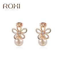 ROXI 2017 New Fashion Jewelry Rose Gold Color Statement Flower Stud Earrings For Women Party Wedding Engagement Free Shipping