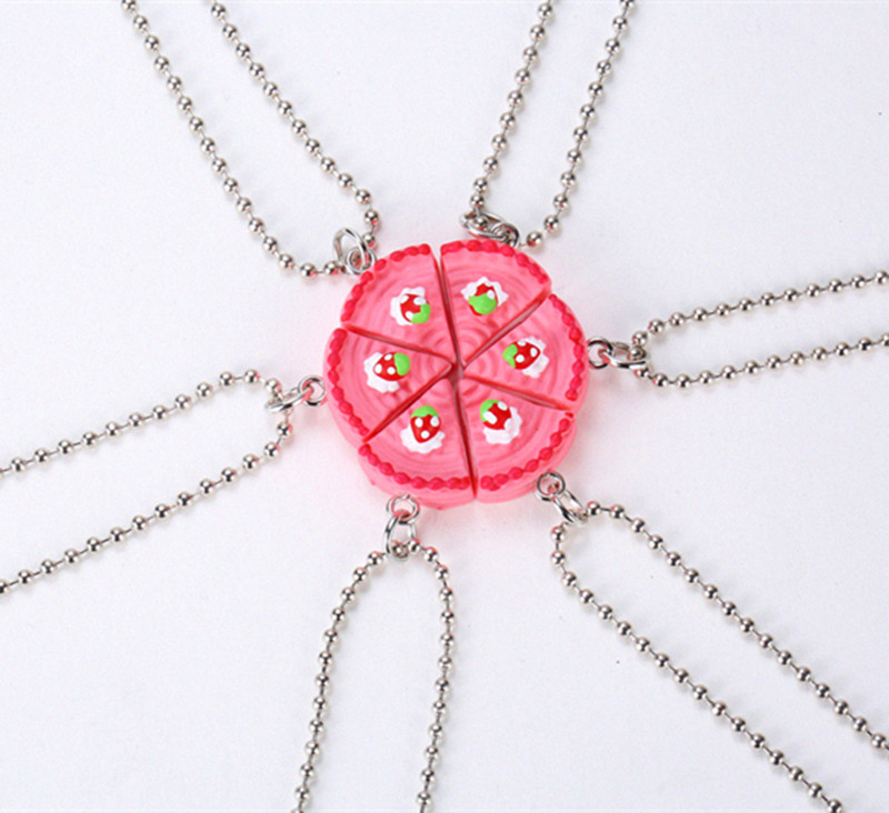 <font><b>BFF</b></font> Necklace 6 Parts Round Happy Birthday Candy Strawberry Cake Best Friends Resin Pendant Necklaces Friendship <font><b>BFF</b></font> Jewelry image