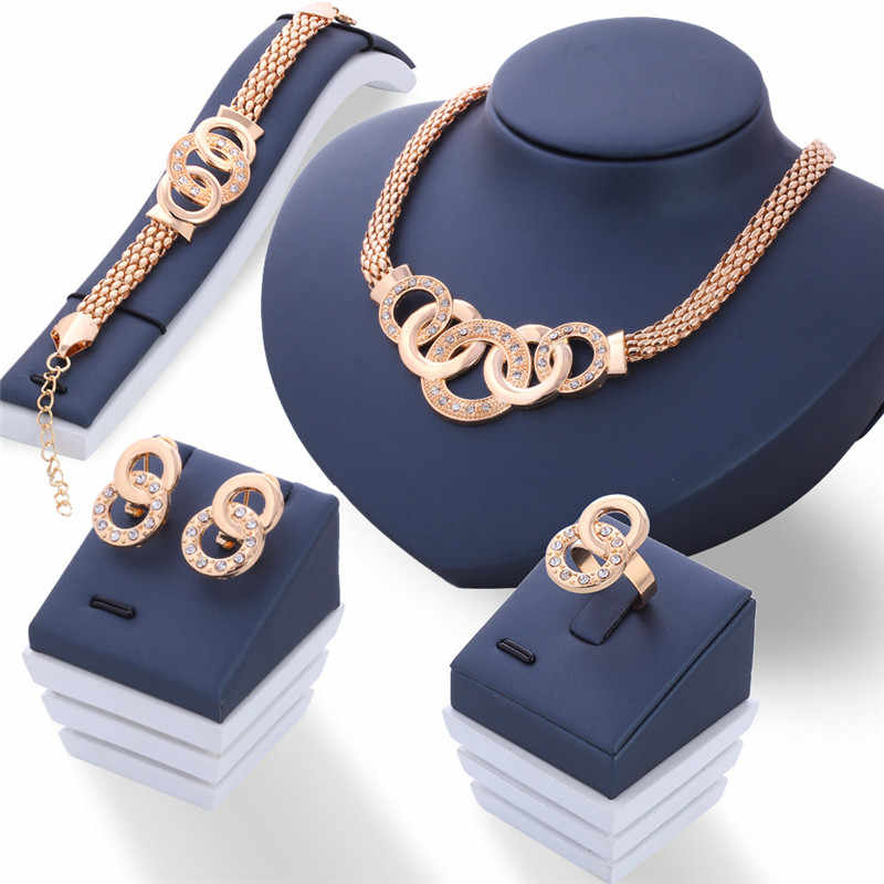 Modyle 2018 New Vintage Jewelry Sets African Statement Necklace Earrings Bracelet Adjustable Ring Women Wedding Jewelry Set