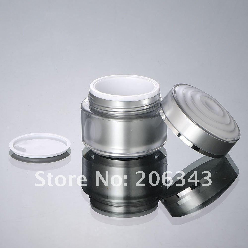 50G Silber Acryl Cremetiegel mit Blütenform - Hautpflege-Werkzeug