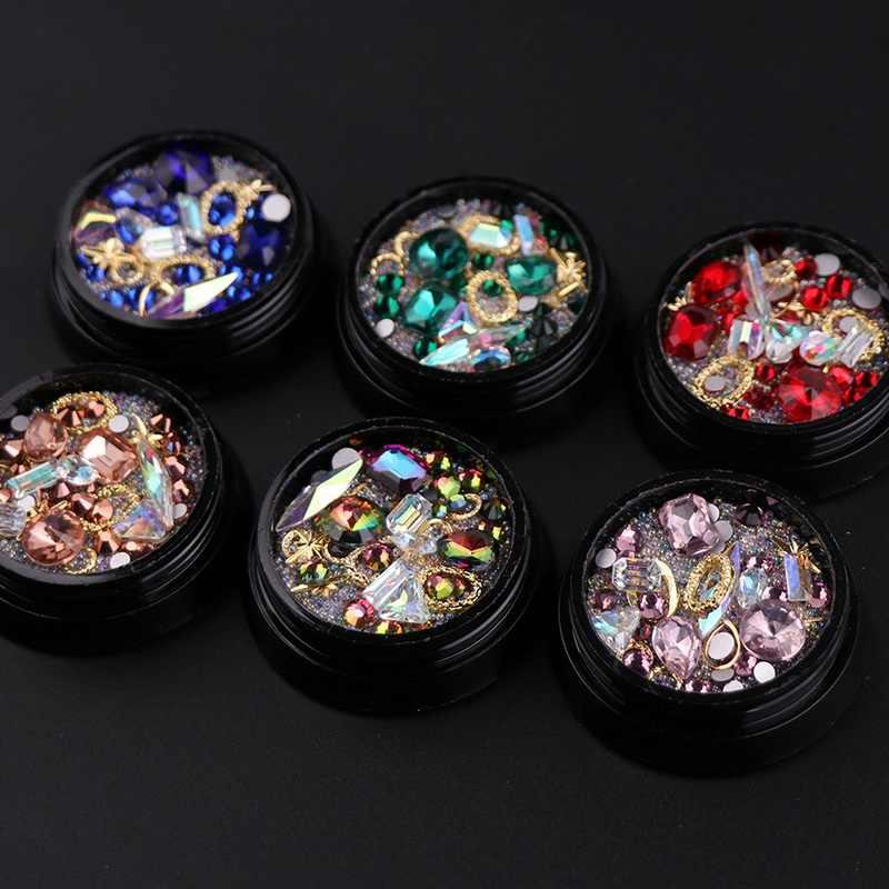 Mixed Shape Opal Nail Resin Rhinestones Gems 3D Tip Drill Copper Nail Charm  Beads Studs Manicure aebc275d2bca