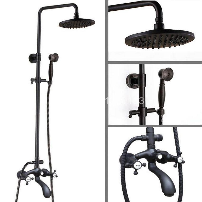 Black Oil Rubbed Brass Wall Mounted Waterfall Rain Shower Faucet Set Dual Cross Handle Bathroom Bathtub Water Tap ahg115