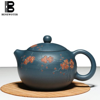 300ML Yixing Purple Clay Teapot Vintage Drinkware Raw Ore Dark Green Mud Xishi Pot Chinese Kung Fu Tea Set Puer Tea Kettle Gifts