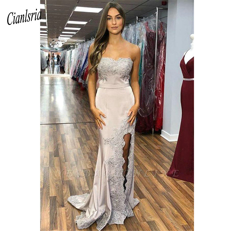 Gorgeous Sweetheart Sleeveless Long Mermaid   Evening     Dress   2019 Appliques Lace Beading High Split Formal   Evening   Party   Dresses