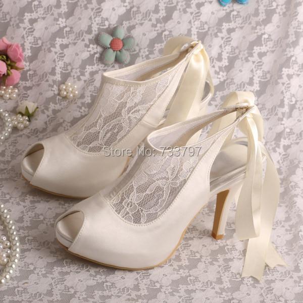 ФОТО Wedopus MW286 Designer Cream Lace Wedding Shoes High Heels Ladies Plain Upper Heels Dropship