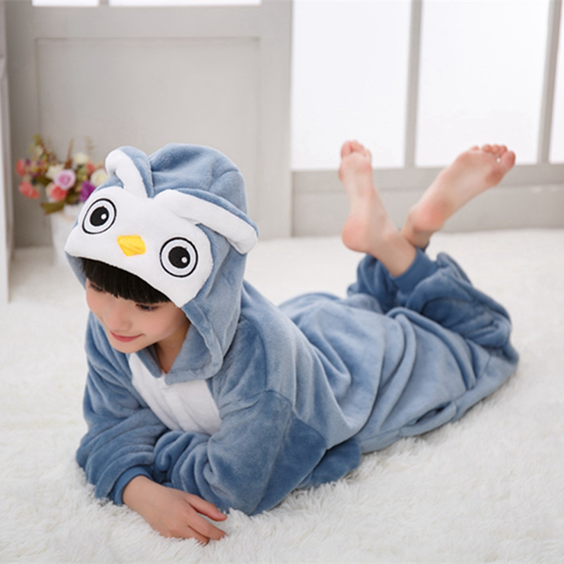 Boy Girl Children OWL Bird Blue Pajamas Set Flannel Kids Animal Cartoon Cosplay Hooded Pijama infantil Kigurumi Sleepwear image