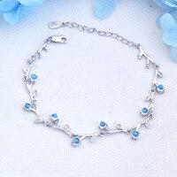 L&P Top Real 925 Sterling Silver Sri Lanka Blue Moonstone Bracelet For Women Fine Jewelry 4mm Gemstones Bracelet New Design 2019