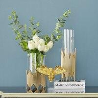 Home Decoration Metal Glass Vase Flower Arrangement Countertop Simulation Decorative Vase