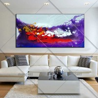 New Landscape Oil Painting Wall Art Abstract Picture Handmade Purple Red Sea Scenery Home Decorative For Living Room Wall