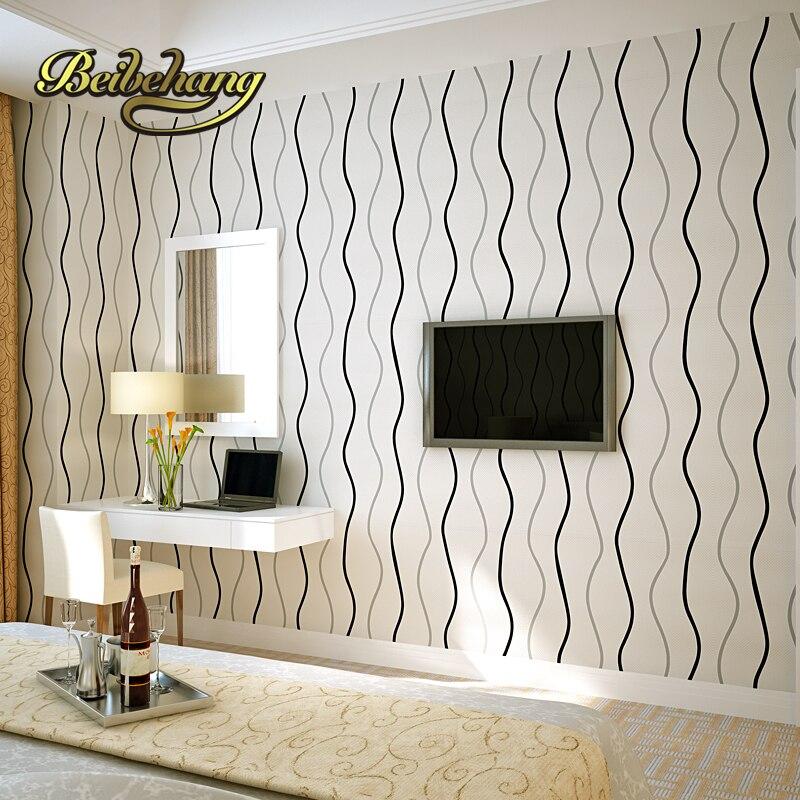 €30.03 46% de réduction|Beibehang para quartoT rayé papier peint moderne  minimaliste salon TV mur télévision en noir et blanc fond gris-in Papiers  ...