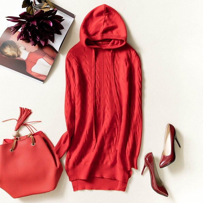 Automne bleu En Femmes 2018 Long De Nouveau Manteau Capuche D'hiver Chaud rouge rose marron Lâche Cachemire À Et Tricot Chandail Pull Beige UB5wOqBf
