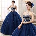 Lindo luxo brilhante azul querida Quinceanera Vestidos doce 16 Vestidos Longo Vestidos de Debutante vestido