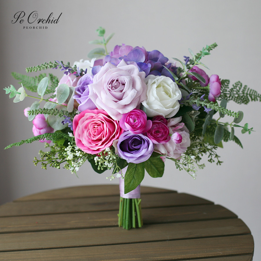 PEORCHID 2019 European Style Purple Wedding Bouquets For Bride Holding Flower Eucalyptus Hydrangea Rose Artificial Bouquet