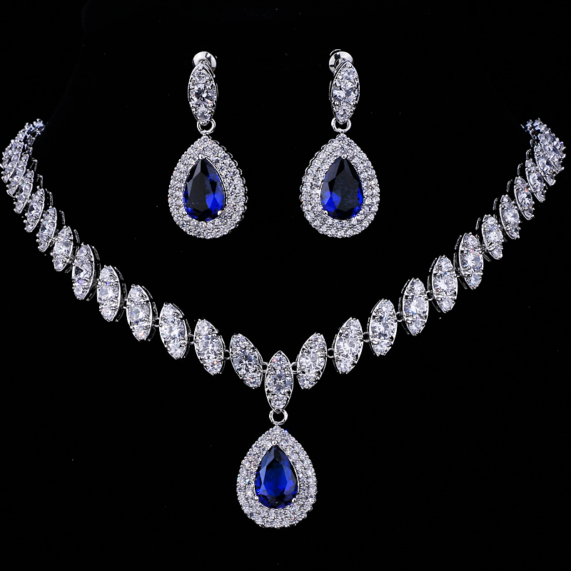 Emmaya Simulated Bridal Jewelry Sets Silver Color Necklace Sets 4 Colors Wedding Jewelry Parure Bijoux Femme 3