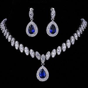 Image 3 - Emmaya Simulierte Brautschmuck Sets Silber Farbe Halskette Sets 4 Farben Hochzeit Schmuck Parure Bijoux Femme