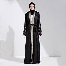 f9d52d5c6b713 العباءة مسلم الرباط ماكسي اللباس المفتوحة الأسود سترة طويلة رداء أثواب تونك  كيمونو الملابس الإسلامية رمضان jubah الشرق الأوسط ال.