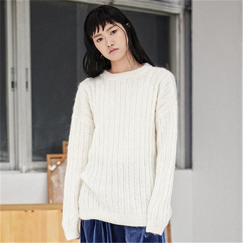 100% шерстяной, ручной работы Тонкий вязать для женщин Мода Oneck свитер пуловер грубой вязки Розничная и оптовая индивидуальные