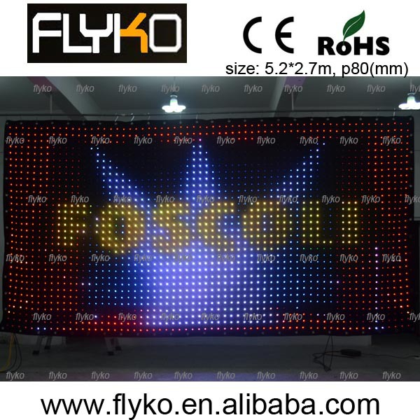Free Shipping Indoor High Definition P80MM Led Video Curtain