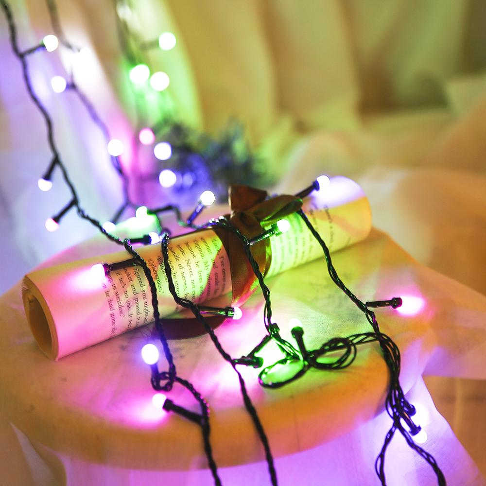 10m New Year 220v 110v Led Flasher String Light Chain Tree Party Simple Ac Bulb Outdoor Fairy Lights Bulbs Garden Patio Wedding Christmas Decoration Waterproof