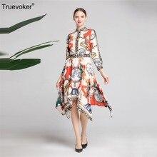 Truevoker Designer Dress Women s Long Sleeve Shirt Collar Baroque Printed  Irregular 7d796d5fad19