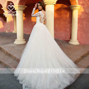 Image 4 - Detachable Train  2 in 1 Wedding Dress 2020 Appliques Long Sleeve Mermaid Bridal Gown Princess Swanskirt  K118 Vestido De Noiva