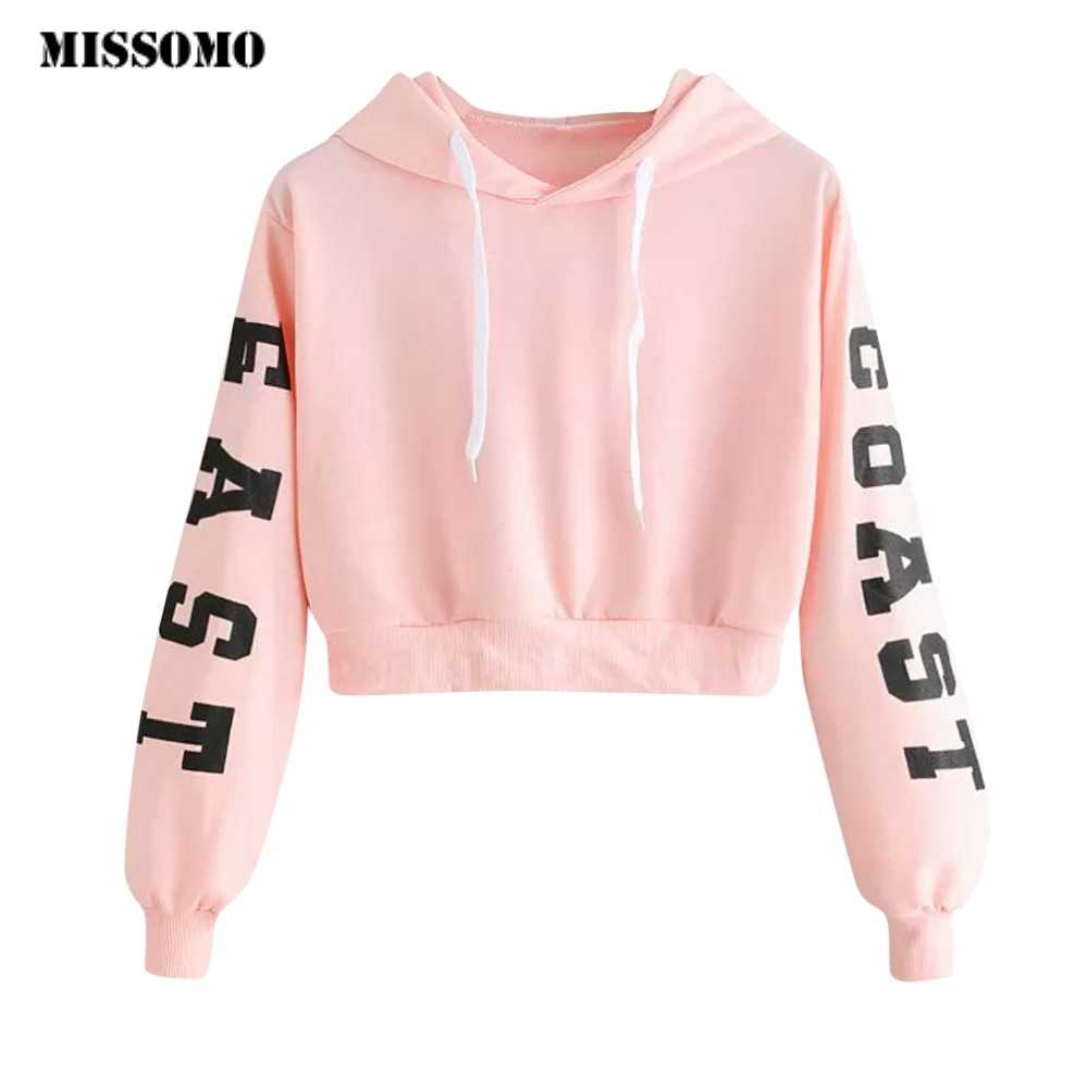 MISSOMO  Sweatshirt Women Pink Letters Long Sleeve Hoodie Sweatshirt Pullover Tops Harajuku Blouse Hoodies Cropped XS-XL