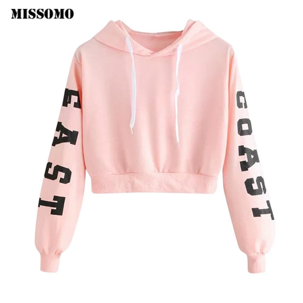 MISSOMO  Sweatshirt Women Pink Letters Long Sleeve Hoodie Sweatshirt Pullover Tops Harajuku Blouse Hoodies Cropped XS-XL