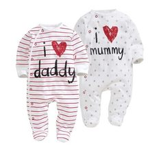 cf409704c 2019 new style Baby Rompers boy   girl Cotton Long Sleeve Newborn clothes  Letter I Love mummy   Daddy jumpsuit Baby clothes