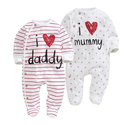 2019 new style Baby   Rompers   boy & girl Cotton Long Sleeve Newborn clothes Letter I Love mummy & Daddy jumpsuit Baby clothes