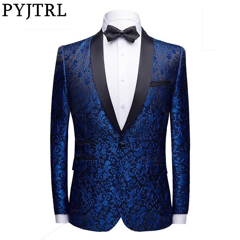 PYJTRL Men Fashion Floral Jacquard Dress Blazer Gentleman Shwal Lapel Slim Fit Party Wedding Prom Suit Jacket Male Costume Homme