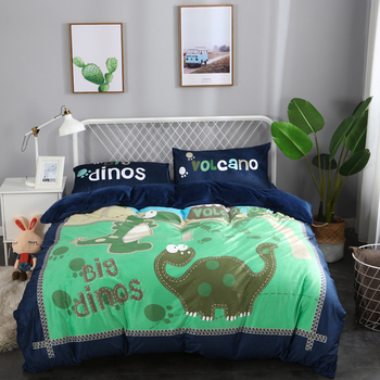 Cartoon Dinosaur/penguin/Plants 4pcs Fleece fabric Bedding Sets Bed Sheet Duvet Cover Pillowcase Bedclothes winter bed set 4pcs