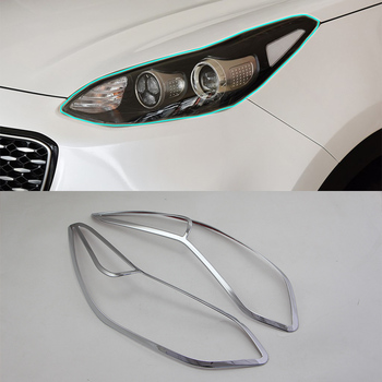 Car Accessories Exterior Decoration ABS Chrome Front Head Light Lamp Cover Trim 2pcs For Kia KX5/Sportage 2016 Car Styling