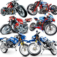 Motorcycle Technic Compatible Moto Racing Motorbike City Vehicle Sets Off Road Model Building Blocks MOC Kits Kids Toys(China)