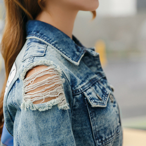 Image 5 - Rugod 2018 vintage engraçado imprimir jean jaqueta feminina rasgado buraco manga longa bombardeiro jaquetas casual primavera outono curto denim jaqueta