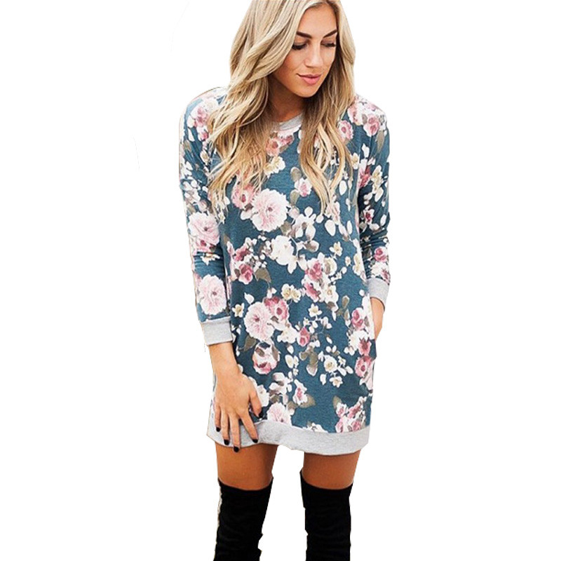 2017 Winter Casual Sweater Dress Women Print Floral Long Sleeve Sexy Mini Knitted Vintage Bodycon Hoodie Shirt Christmas Dress sexy drawstring hooded long sleeve letter print bodycon hoodie dress for women