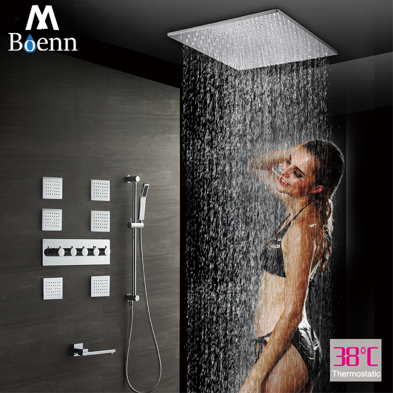 20 Inch Bathroom Rainfall Shower Head 304SUS Thermostatic Faucet Ceiling Mounted Showerheads Massage Spray Jet With