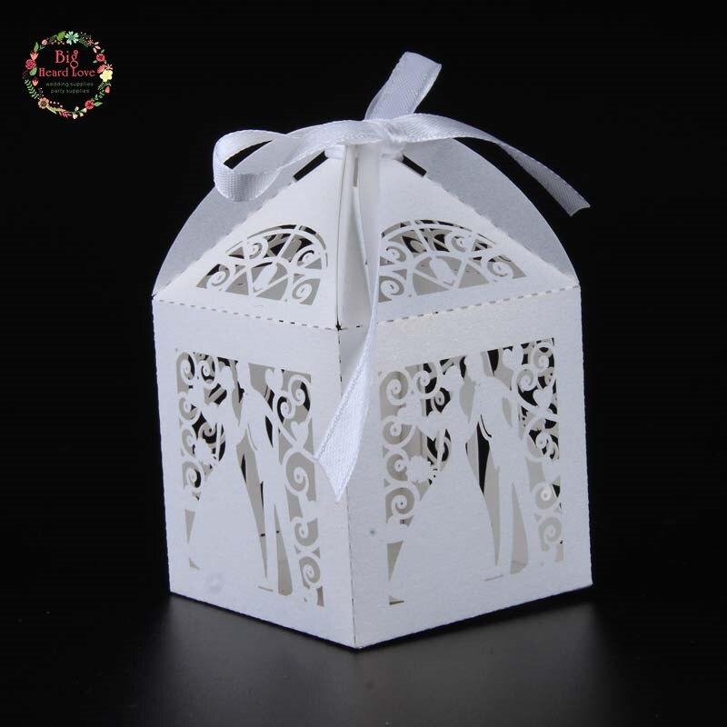 Big Heard Love 50 шт. лазерная резка невесты и жениха Свадебная коробочка для сладостей Подарочная коробка свадебное оформление коробки вечерние поставки - Цвет: white
