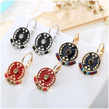 Shineland Indian Jewelry Boho Earrings Black Red Enamel Beads Rhinestone Round Carved Drop Ethnic Earring New Brincos For Women