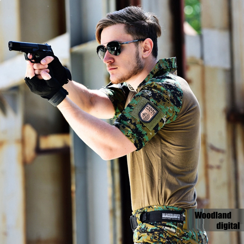 Military Clothing Camouflage Short Combat Shirt Digital Camouflage Shirt + Cargo Pants Paintball Tactical Clothes Set pockets design straight leg camouflage cargo pants
