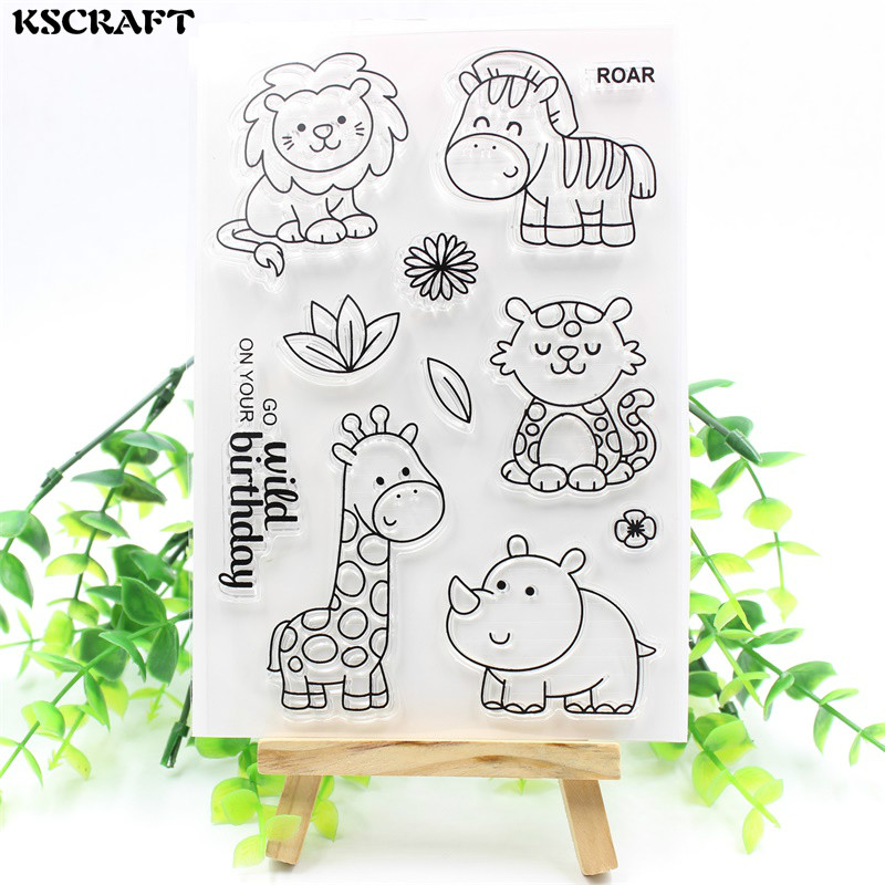 KSCRAFT Wild Animals Transparent Clear Silicone Stamps for DIY Scrapbooking Card Making Kids Fun Decoration Supplies